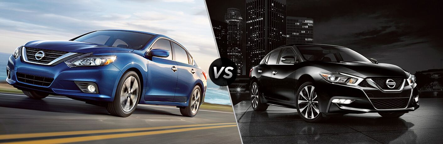 2018 Nisaan Altima in blue vs 2018 Nissan Maxima in black