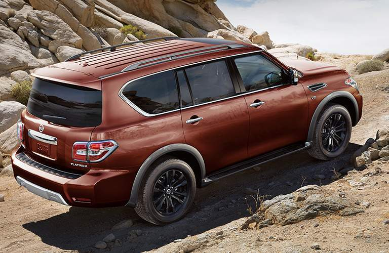 burnt orange 2018 Nissan Armada driving off-road