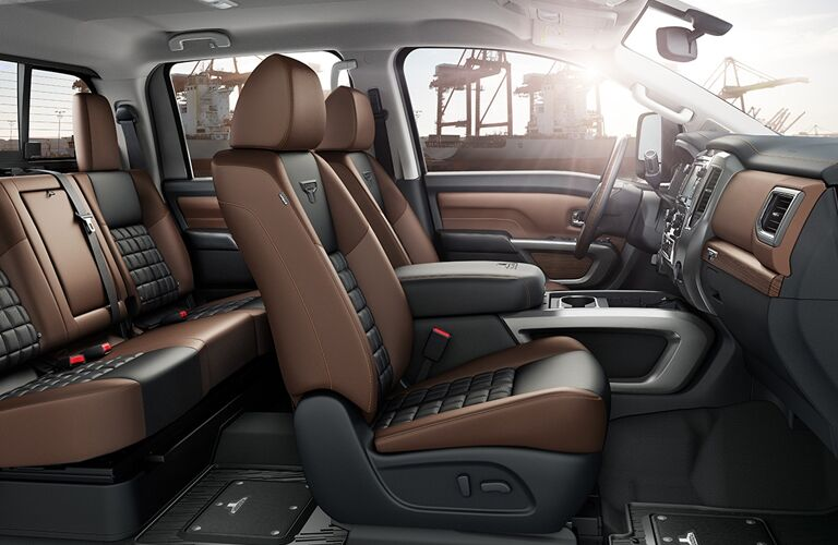 interior seating of 2018 nissan titan xd including front and rear seats