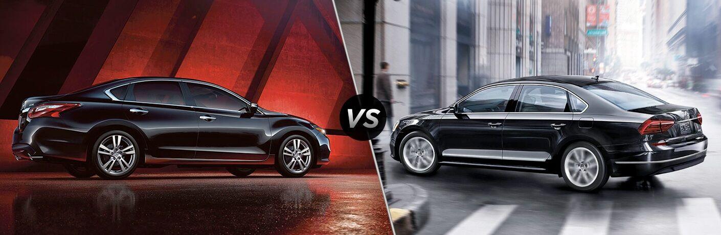 Black 2018 Nissan Altima and black 2018 Volkswagen Passat side by side