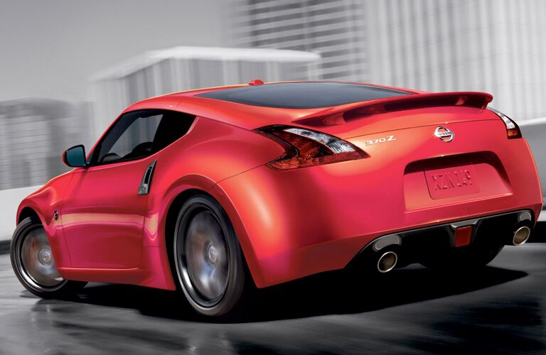 rear view of red 2019 nissan 370z