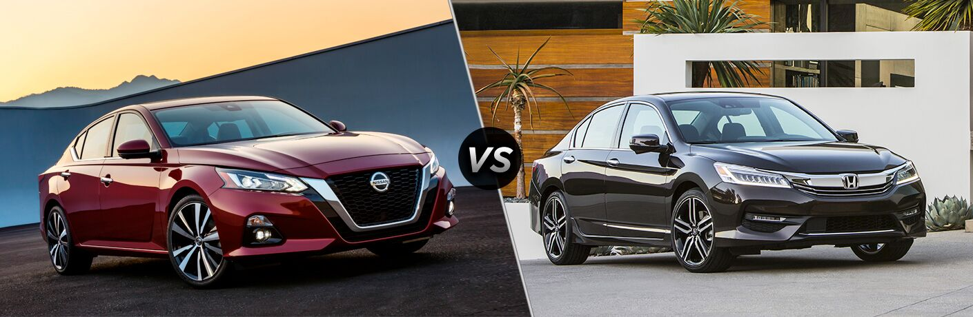 "Red 2019 Nissan Altima parked in front of some mountains at dawn and a blue 2018 Honda Accord parked in front of a modern west coast home, separated by a diagonal line and ""VS"" logo."