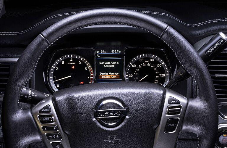 steering wheel and dashboard of 2019 nissan titan