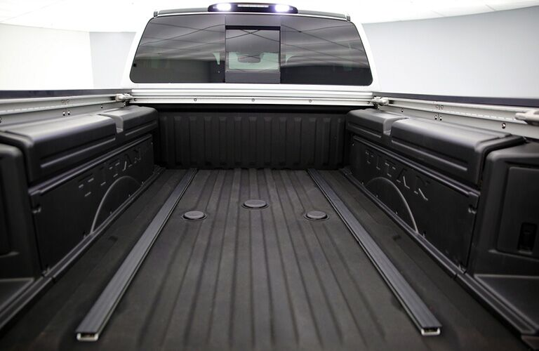 rear truck bed of white 2019 nissan titan xd