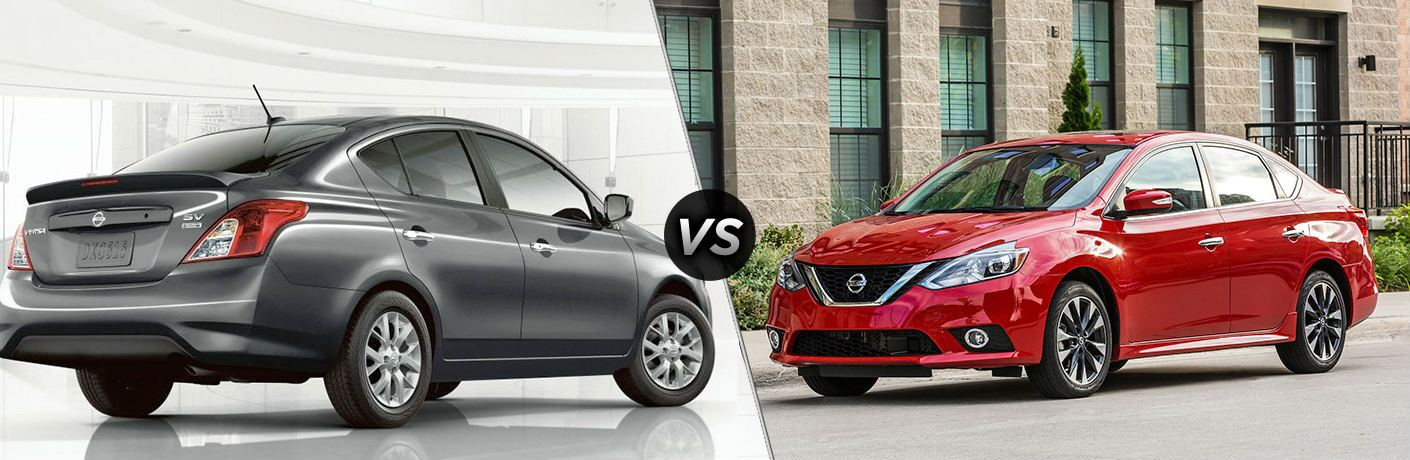 "Grey 2019 Nissan Versa parked in a bright white room and a red 2019 Nissan Sentra parked outside an apartment building are separated by a diagonal line and ""VS"" logo."