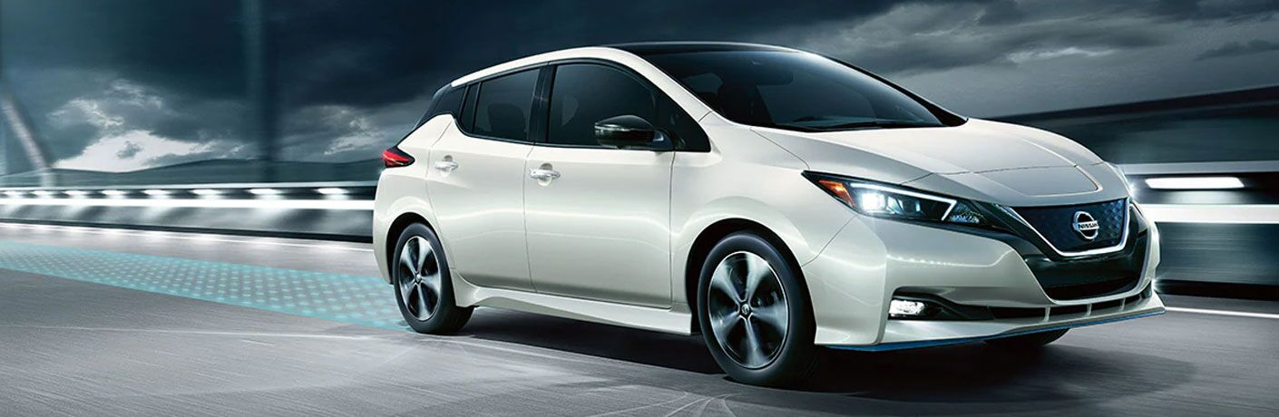 2020 Nissan LEAF going down the road