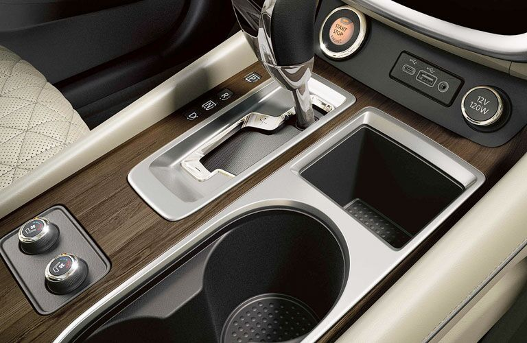 Shift knob and cup holders in the 2020 Nissan Murano