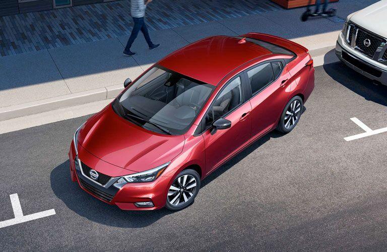 2020 Nissan Versa backing into a parking spot