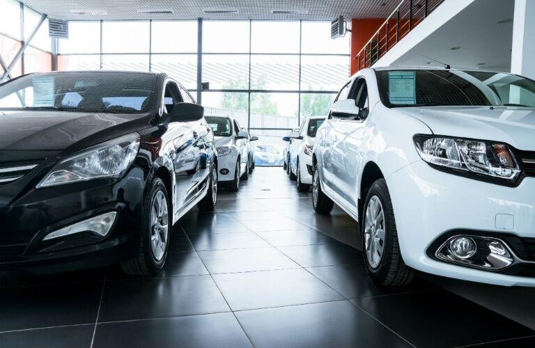 black and white new cars at car dealership