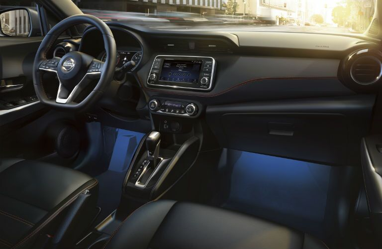 A photo of the front dashboard in the 2020 Nissan Kicks.