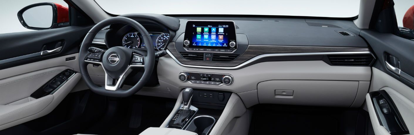 A photo of the front dashboard in the 2020 Nissan Altima.