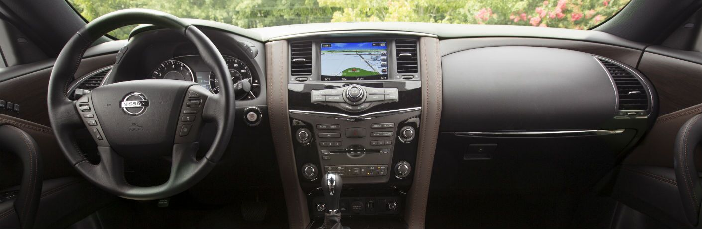 A photo of the front dashboard in the 2020 Nissan Armada.