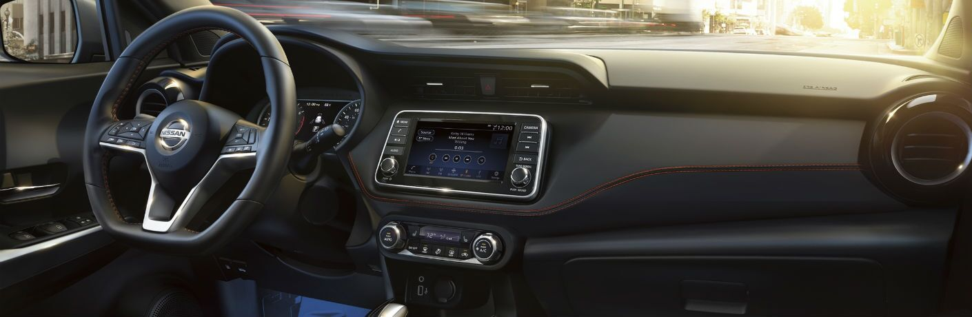 A photo of the dashboard in the 2020 Nissan Kicks.