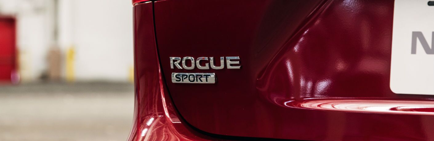 A photo of the Rogue Sport badge used on the back of the 2020 Nissan Rogue Sport.