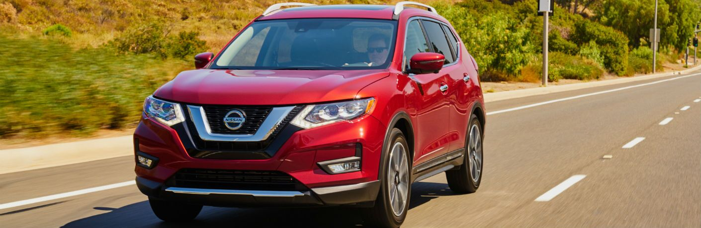 A photo of the 2020 Nissan Rogue on the road.