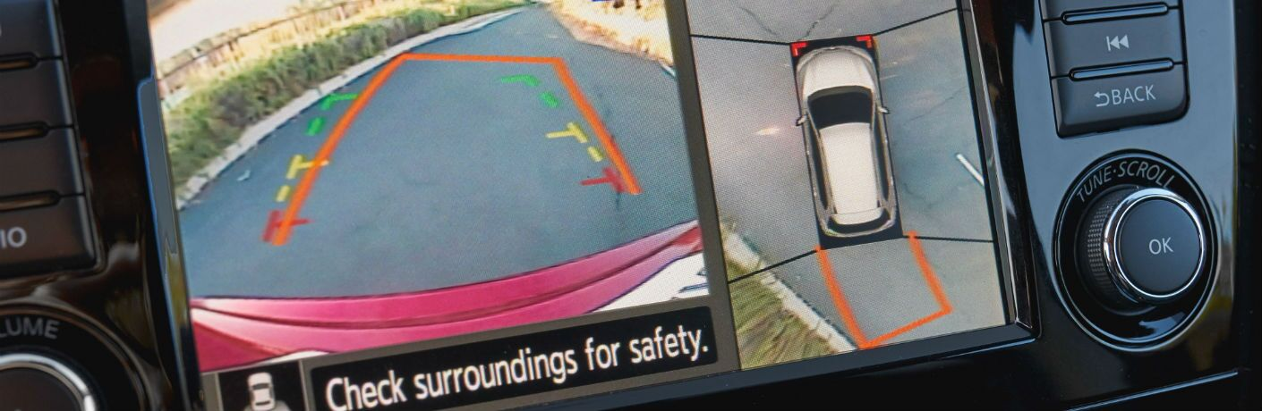 A photo of the rear view camera display in the 2020 Nissan Rogue.
