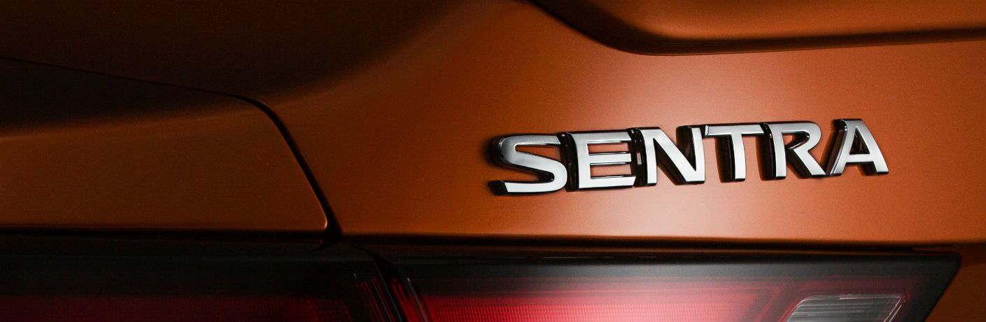 A photo of the Sentra badge used on the back of the 2020 Nissan Sentra.