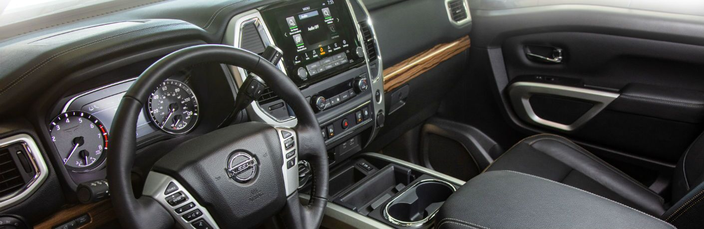 A photo of the dashboard in the 2020 Nissan Titan.