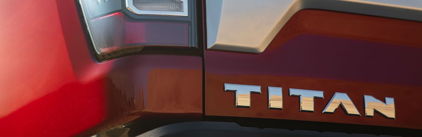 A photo of the Titan badge used on the 2020 Nissan Titan.