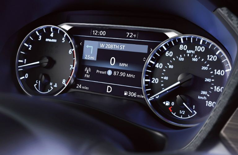 A photo of the center gauge cluster in the 2020 Altima.