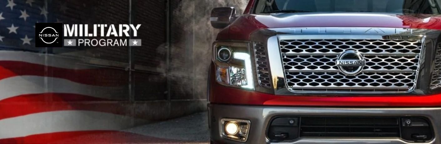 Nissan Military Program with an American Flag and a Nissan TITAN truck