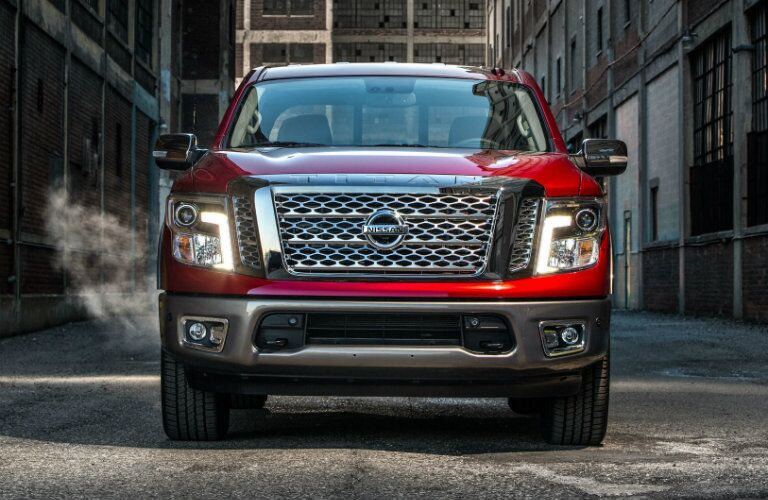 front view of nissan titan mesh grille