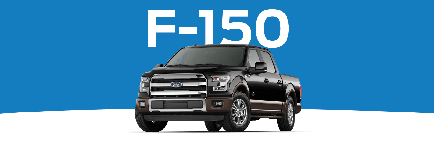 Black Ford F-150 on blue and white background