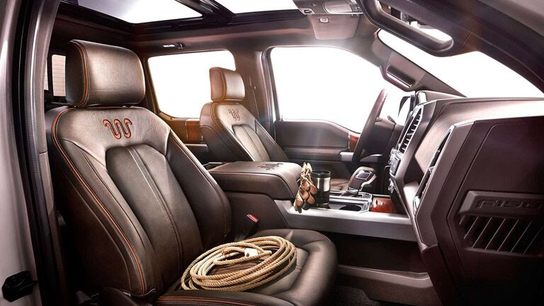 Front two seats inside 2015 Ford F-150