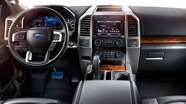 Steering wheel and touchscreen of Ford F-150