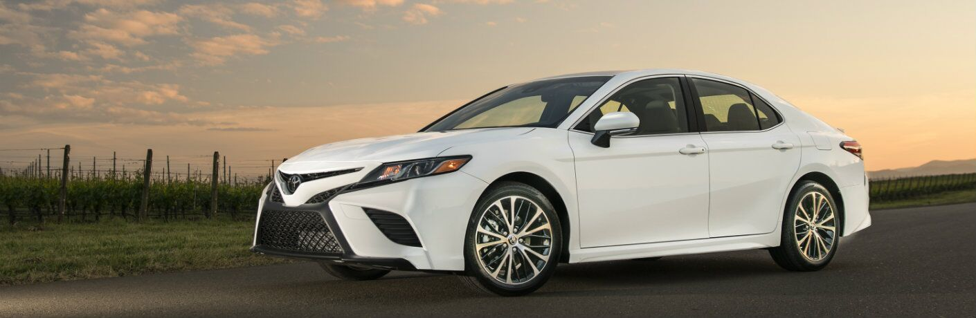 White 2018 Toyota Camry at sunset