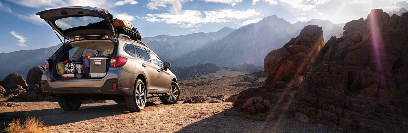 Loaded Subaru Outback in the mountains