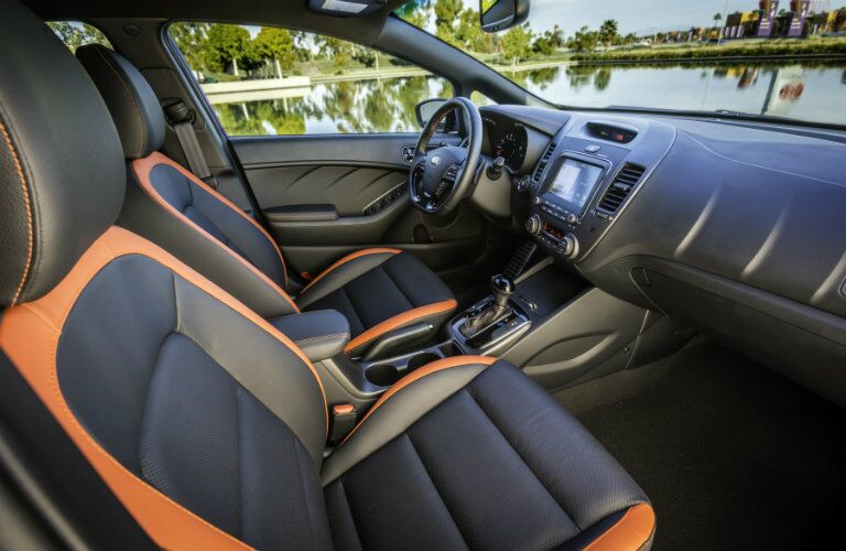 Interior view of orange and black seating in 2018 Kia Forte5