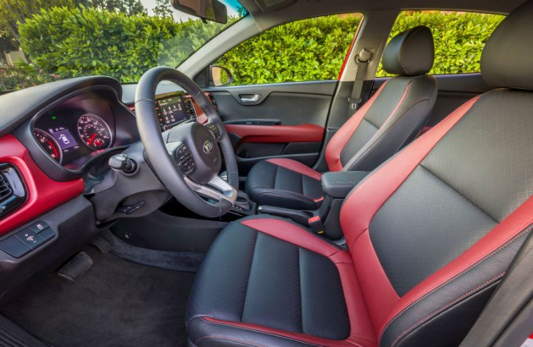 black and red front seating in 2018 kia rio 5-door
