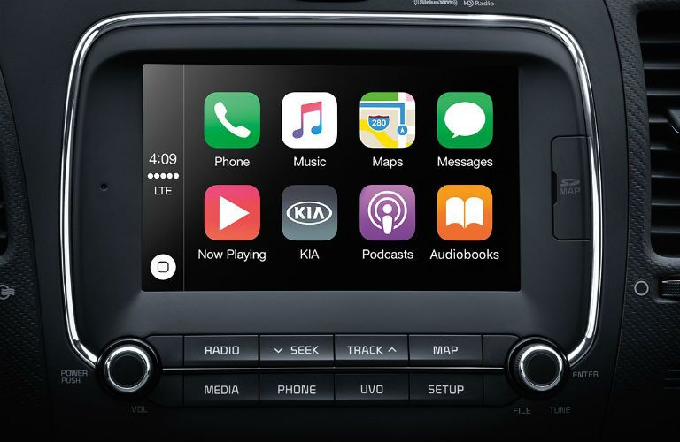 Closeup of infotainment center in 2018 Kia Forte