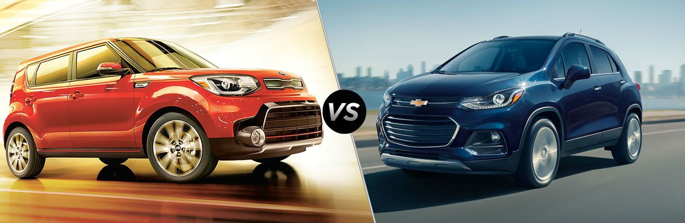 Red 2019 Kia Soul and Blue 2019 Chevrolet Trax