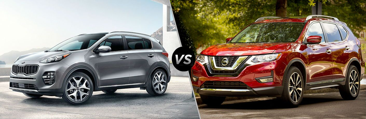 Silver 2019 Kia Sportage and red 2019 Nissan Rogue