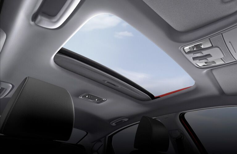 2020 Kia Forte view from inside showing sunroof open