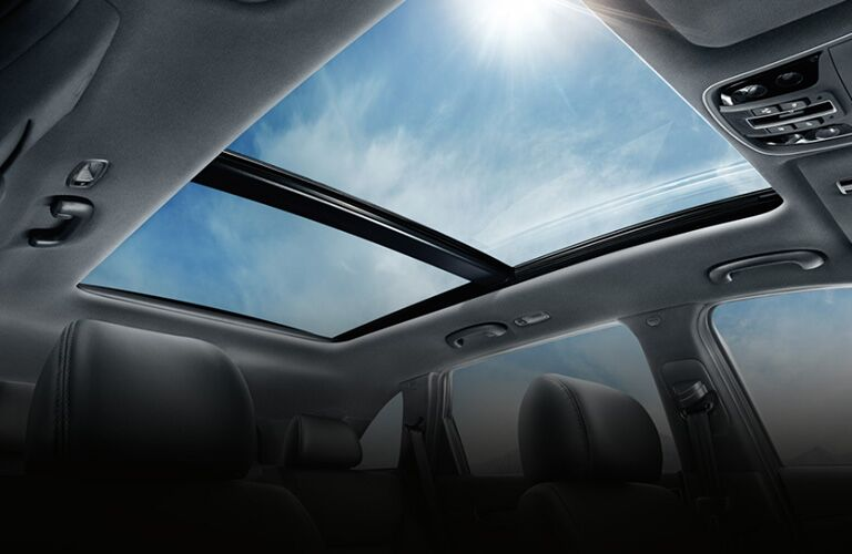 2020 Kia Sorento interior upward shot of dual pane panoramic sunroof