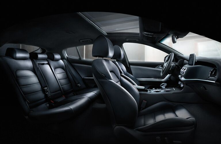 2020 Kia Stinger interior view of seats from open passenger side