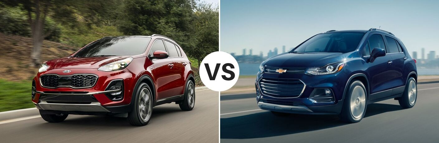 Red 2020 Kia Sportage set against a blue 2019 Chevy Trax