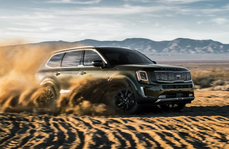 2020 Kia Telluride driving in the dirt