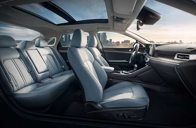 2021 Kia K5 interior showing everything from passenger side perspective