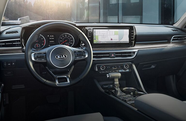 2021 Kia K5 interior showing screen wheel and shifter