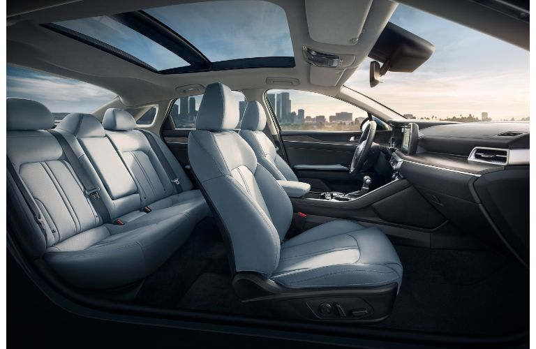 2021 Kia K5 interior without doors viewed from passenger side