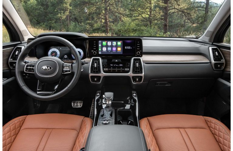 2021 Kia Sorento interior side view of front seats and front cabin