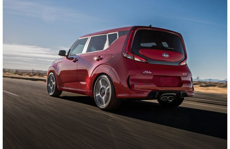 2021 Kia Soul Red driving away view of back end