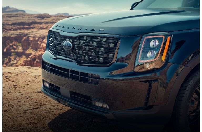 2021 Kia Telluride close up on front grille and logo at angle