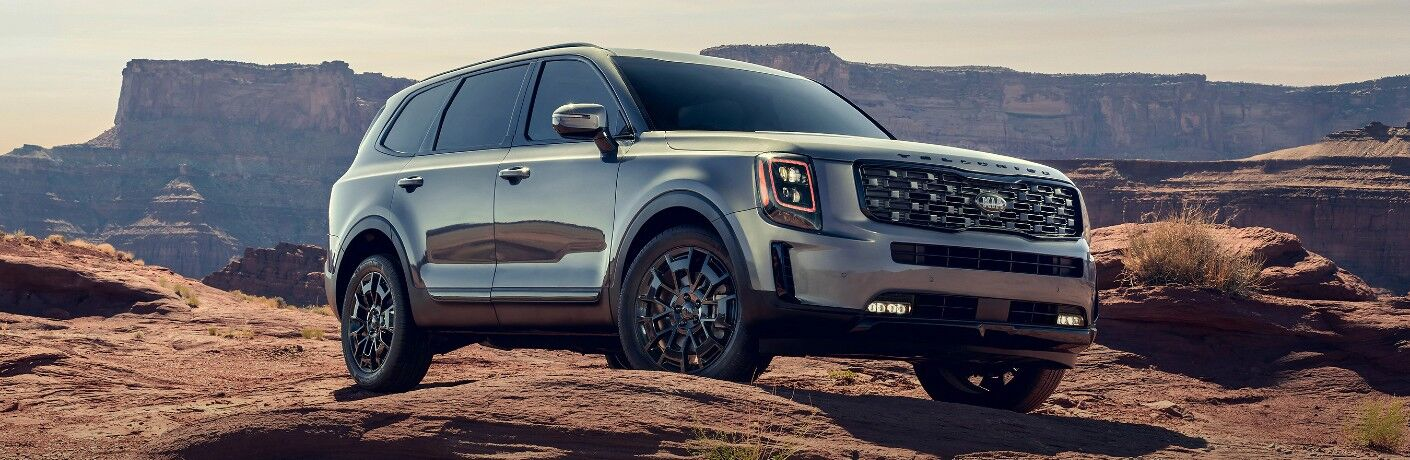 2021 Kia Telluride parked on mountain with cliff in background