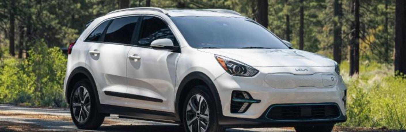 2022 Kia Niro EV Snow White Pearl driving through the forest area