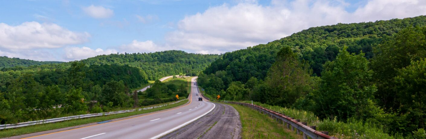 Highway in the Pennsylvania countryside during the summer season